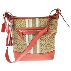 Coach Signature 19918 Canvas,Leather Shoulder Bag